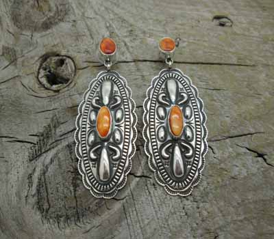 Native American Orange Spiney Earrings Repousse