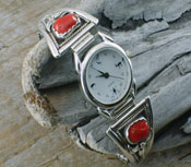 Native American Watch Band  Oxblood Coral