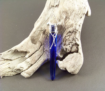 Blue-Glass Sword Pendant w/ Amethyst