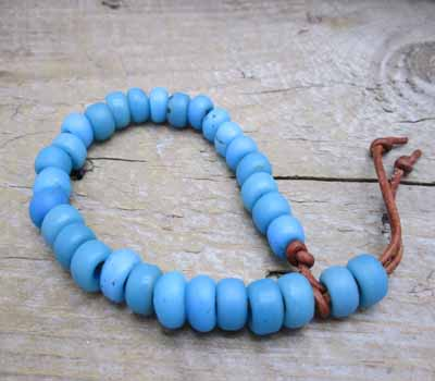 Trade Bead Bracelet African Blue Glass