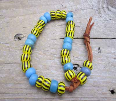 Trade Bead Bracelet African Yellow Jacket Blue Glass