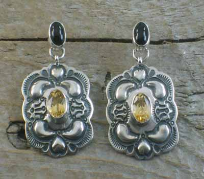Native American Onyx & Citrine Repousse Earrings