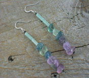 Earrings Fluorite Dangle  -long