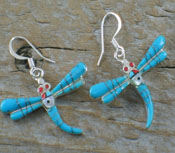 Earrings Blue Turquoise Inlay Dragonfly