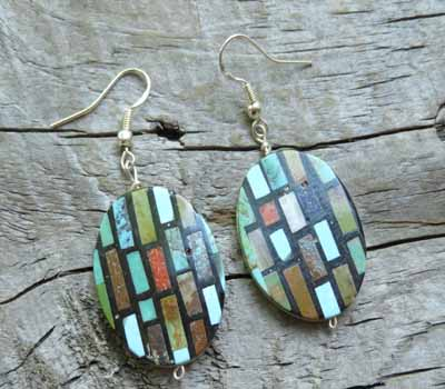 Earrings Native American Inlay Mosaic Tiles