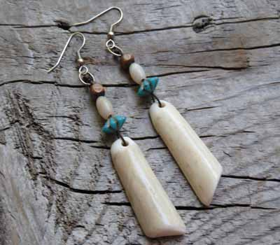 Earrings Deer Antler Slices
