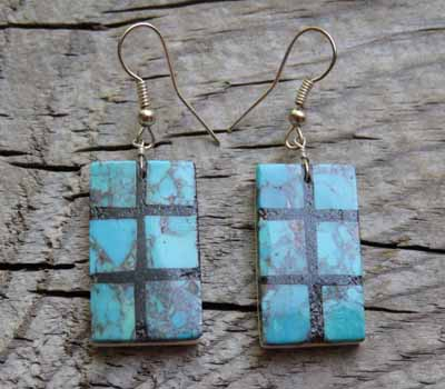 Earrings Turquoise & Jet Inlay Slab