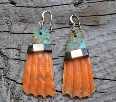 Native American Earrings Shell & Turquoise Top Inlay