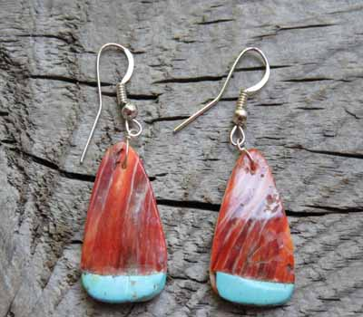 Native American Earrings Shell & Turquoise Inlay