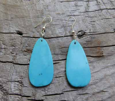 Earrings Native American Blue Turquoise Slab