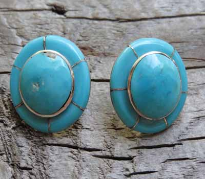 Native American Turquoise Inlay w/ Sterling Silver Post Earrings