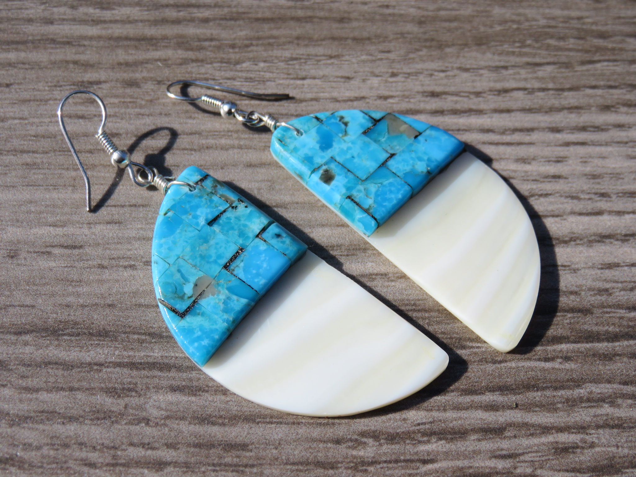 Turquoise Inlay on MOP Slab Earrings - Long