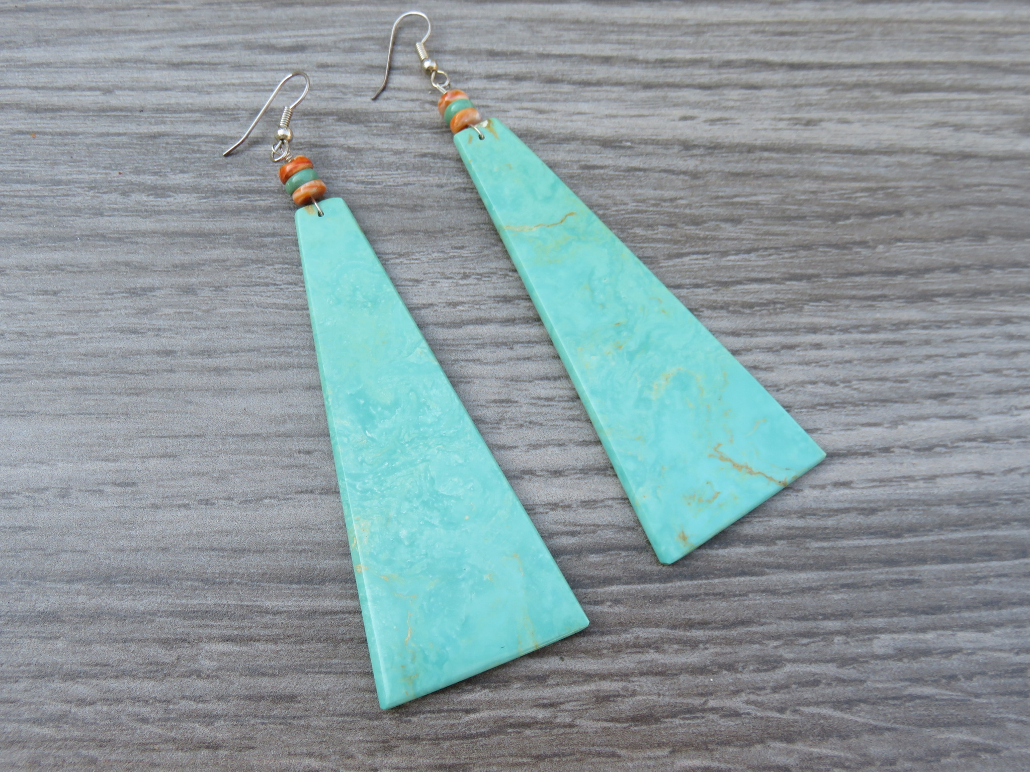 Turquoise Slab Earrings - Large