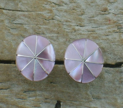 Indian Jewelry- Pink Mussel Shell Inlay Earrings