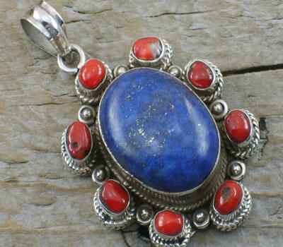 Turquoise jewelry pendants lapis native american pendants lapis centerpiece w coral pendant mozeypictures Images