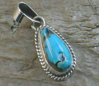 Native American Turquoise Nugget Pendant K