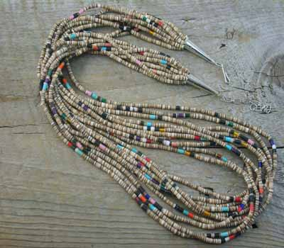 Native American Necklace Santo Baby Olive w/ Mixed 10-Str