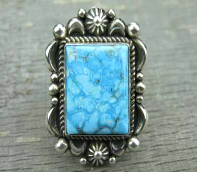 Native American Ring Kingman Turquoise Albert Jake