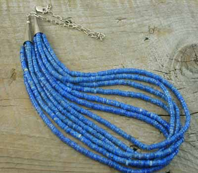 Necklace Native American Santo Domingo 6-Strand  Denim Lapis