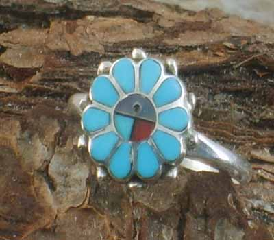 Native American Sunface Ring- sz 6.75