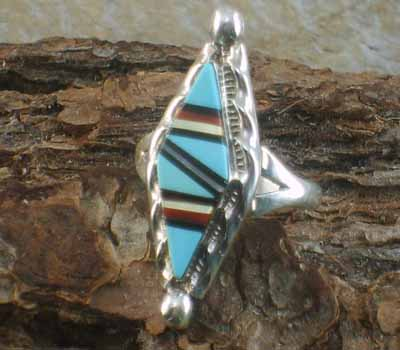 Zuni Native Inlay American Ring- sz 7.5