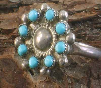 Native American Cluster Ring- sz 6.5