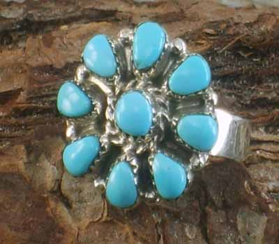 Native American Turquoise Cluster Ring- sz 6