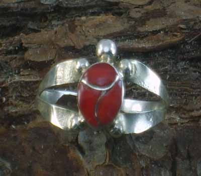 Coral Turtle Native American Ring- sz 7.25