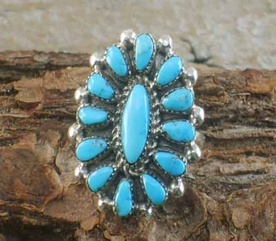 Native American Turquoise Cluster Ring- sz 8.5