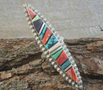 Native American Channel Work Ring- sz 8 1/2