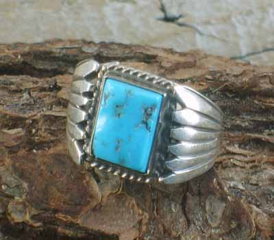 Native American Bennie Ration Turquoise Ring- sz 8.25