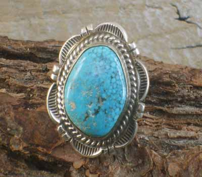 Native American Birds Eye Turquoise Ring- sz 6.5