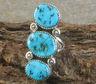 Native American Turquoise 3- Nugget Ring- sz 8.25
