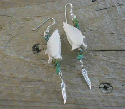 Native American Carved Eagle Earrings