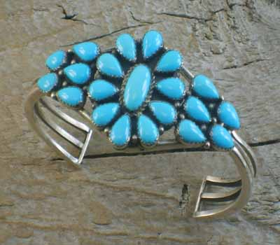 Native American Cuff Bracelet Turquoise Cluster