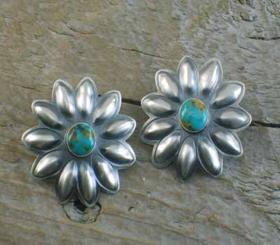 Navajo Flower Earrings Silver and Turquoise