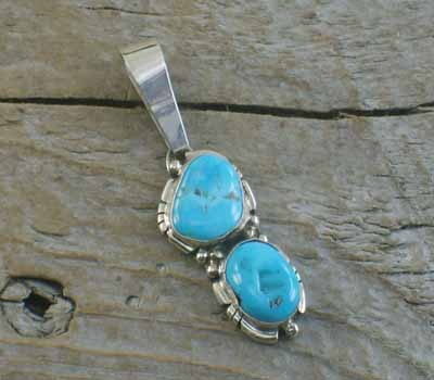 Turquoise Double Nugget Pendant