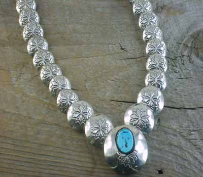 Native American Sterling Concho Necklace Turquoise