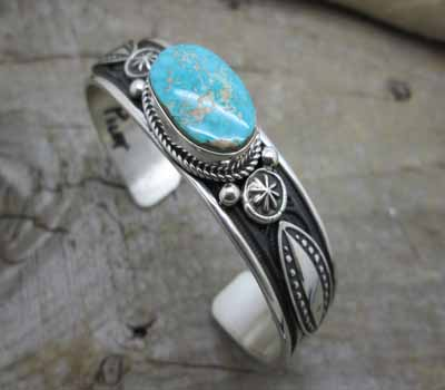 American Indian Cuff Bracelet -Pilot Mtn Turquoise