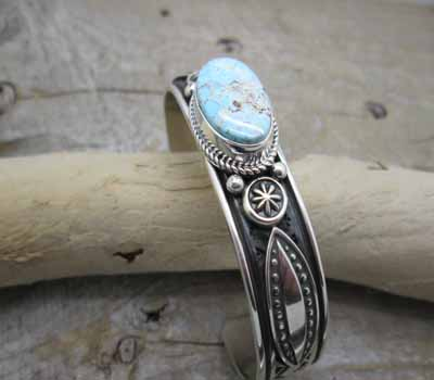 Native American Cuff Bracelets Silver Stamped Dry Creek Turquoise Bracelet At Theturquoisemine