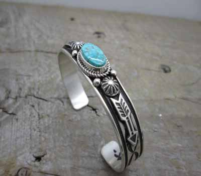 American Indian Turquoise Cuff Bracelet -Arrow
