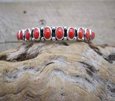Native American Coral Bangle - Superb Quality