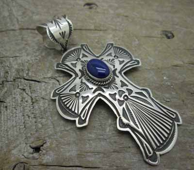 Native Indian Pendant Sterling  & Lapis Cross - Large