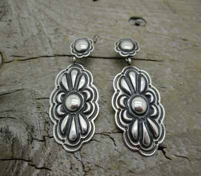 Native American Sterling Silver Repousse Earrings