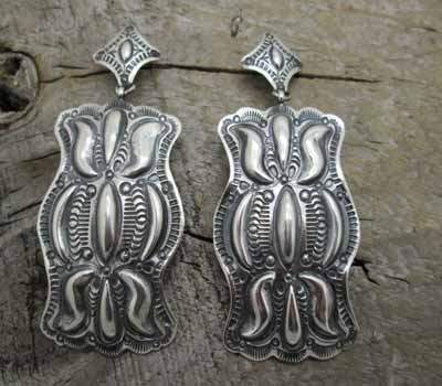 Native American Sterling Repousse Earrings
