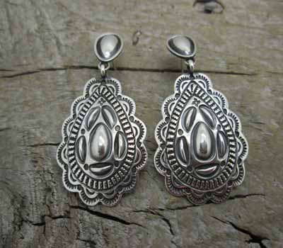 Native American Silver Repousse Earrings Concho