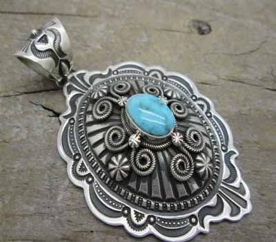 Indian Pendant Sterling Valley Blue Turquoise