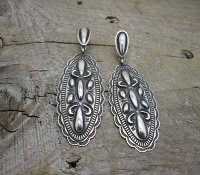 Native American Repousse Earrings Oval