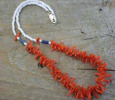 Necklace Natural Coral w/ Clam Shell Choker