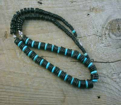 Necklace Jet & Turquoise Rondell